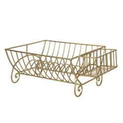 Clayre & Eef Zlatý kovový stojan na talíře / odkapávač - 42*29*17 cm