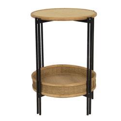 Clayre & Eef Odkládací stolek s ratanovým košíkem Sappho - Ø 41*61 cm