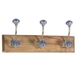 Clayre & Eef Dřevěný věšák s modrými keramickými knopkami  - 44*10*17 cm