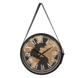 Clayre & Eef Nástěnné závěsné hodiny s potiskem světadílů – Ø 42*4 cm / 1*AA