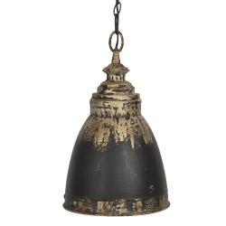 Clayre & Eef Černo-zlaté kovové závěsné světlo Enyo – Ø 28*45 cm E14/max 1*25W