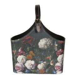 Clayre & Eef Tmavě tyrkysová květovaná vintage taška Colette - 29*14*26 cm