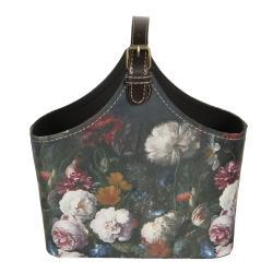 Clayre & Eef Tmavě tyrkysová dekorativní taška Colette s květinami - 25*12*22 cm