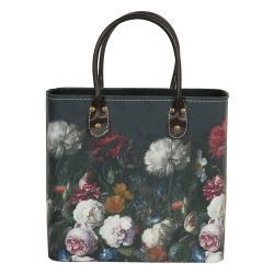 Clayre & Eef Tmavě tyrkysová květovaná taška Colette - 28*14*28/39 cm