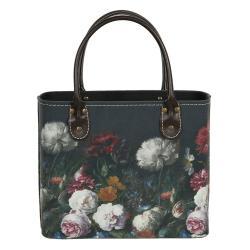 Clayre & Eef Tmavě tyrkysová květovaná vintage taška Colette - 26*12*26/35 cm
