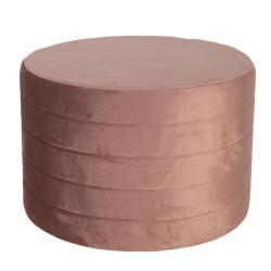 Clayre & Eef Velký růžový sametový puf Salome – Ø 60*40 cm