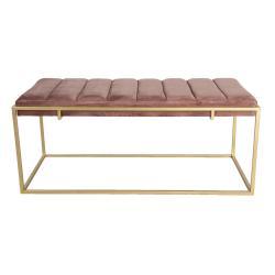 Clayre & Eef Velká podnožka s růžovým sametovým sedákem Salome - 110*50*46 cm