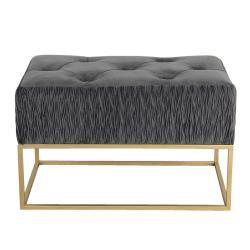 Clayre & Eef Podnožka se šedým sametovým sedákem se vzorem Salome - 60*35*38 cm