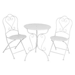 Clayre & Eef Vintage krémový set stůl + 2 židle - 62*73 / 48*40*93 cm