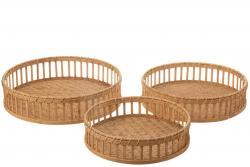 J-Line by Jolipa Set 3ks bambusových podnosů s okrajem Bamboi - Ø 47 * 13 cm