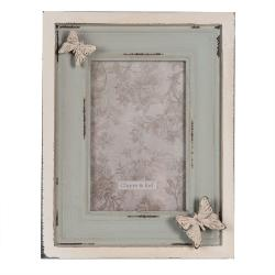 Clayre & Eef Velký vintage fotorámeček s motýly - 17*3*21 cm / 10*15 cm
