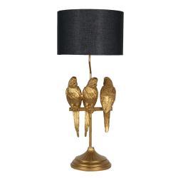 Clayre & Eef Zlatá lampa s dekorací papoušků s černým stínidlem – Ø 33*79 cm E27/max 1*60W