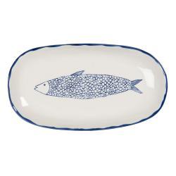 Clayre & Eef Keramický servírovací talíř s modrým dekorem ryby Atalante - 30*16*3 cm