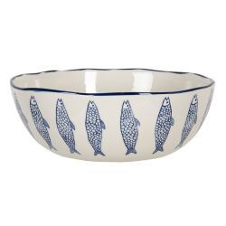 Clayre & Eef Velká keramická mísa se zvlněným okrajem a modrým dekorem ryb Atalante - 25*26*9 cm