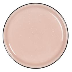 Clayre & Eef Růžový keramický talíř s kaňkami Printemps – Ø 22*3 cm