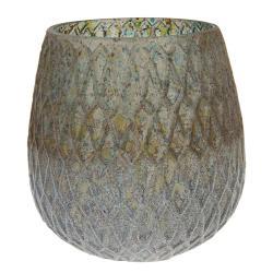 Clayre & Eef Barevná stylová váza Katie s žebrováním  - Ø 14*15 cm