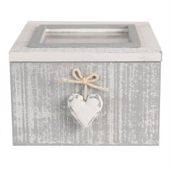 Clayre & Eef Šedý úložný box se srdíčkem - 14*14*9 cm