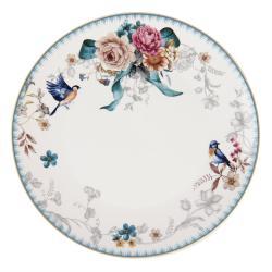 Clayre & Eef Jídelní talíř s motivem květin a ptáčka Pivoine - Ø 26*2 cm