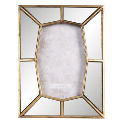 Clayre & Eef Fotorámeček se zrcadlovým okrajem se zlatým lemováním - 16*2*21 cm / 10*15 cm