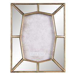 Clayre & Eef Fotorámeček se zrcadlovým okrajem se zlatým lemováním - 19*2*24 cm / 13*18 cm