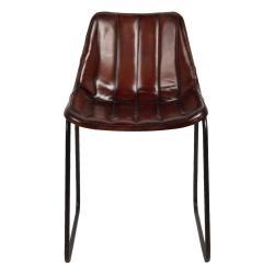 Clayre & Eef Hnědá lehce polstrovaná kožená židle Sol - 46*48*79 cm
