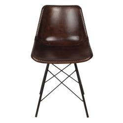 Clayre & Eef Designová hnědá kožená židle Luz - 46*48*79 cm