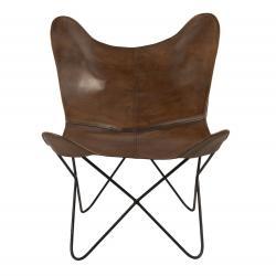Clayre & Eef Hnědá kožená židle Ines - 74*74*89 cm