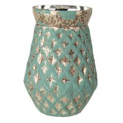 Clayre & Eef Zelená váza s patinou Damali – Ø 18*23 cm