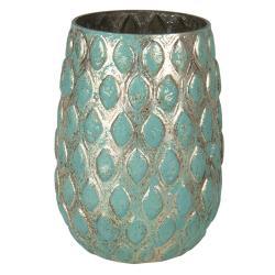 Clayre & Eef Zlato-zelená váza s dekorem Damali – Ø 11*16 cm