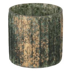Clayre & Eef Tmavě šedivý svícen s bronzovou patinou - 10*10 cm