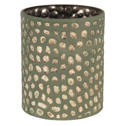 Clayre & Eef Šedivá skleněná váza s nádechem bronzu - 15*13 cm