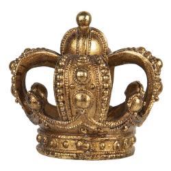 Clayre & Eef Zlatý svícen s patinou ve tvaru koruny na čajovou svíčku - 8*7 cm