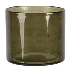 Clayre & Eef Hnědý skleněný svícen na čajovou svíčku - 13*15 cm