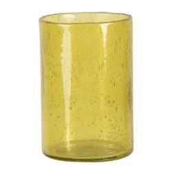 Clayre & Eef Žlutý skleněný svícen na čajovou svíčku - 15*10 cm