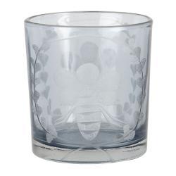 Clayre & Eef Skleněný svícen na čajovou svíčku s motivem včely - 7*8 cm