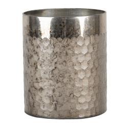 Clayre & Eef Stříbrný opracovaný svícen na čajovou svíčku - 11*13 cm