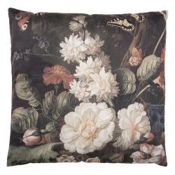 Clayre & Eef Tmavě modrý polštář s motivem květin a motýlů s výplní - 45*45 cm