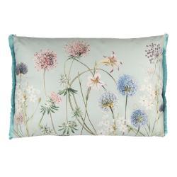 Clayre & Eef Šedivý polštář s modrými třásněmi a motivem květin - 60*40 cm