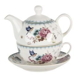Clayre & Eef Tea for one s motivem květin a ptáčka Pivoine - 0,46L