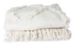 HKLIVING Krémový přehoz na dvoulůžkové postele s třásněmi Fringe - 270*270 cm