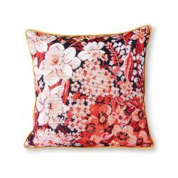 HKLIVING Květinový korálovo okrový polštář Floral - 50*50cm