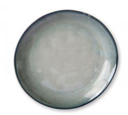HKLIVING Tyrkysovo šedý ručně tvarovaný dezertní talíř Home Chef - 20*19*2,3cm