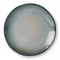 HKLIVING Tyrkysovo šedý ručně tvarovaný jídelní talíř Home Chef - 27*26,5*3cm
