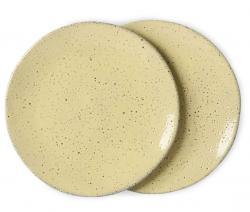 HKLIVING 2ks žlutý dezertní talíř Gradient Ceramics - Ø 22,5*1,5cm