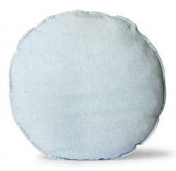 HKLIVING Modrý lněný kulatý podsedák Ice Blue - Ø 60 *5cm
