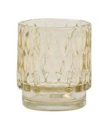 Light & Living Slabě jantarový skleněný svícen Grace - Ø 7*8 cm