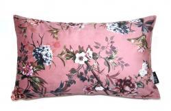 Collectione Růžový sametový polštář s květy Luisa roze- 30*50cm