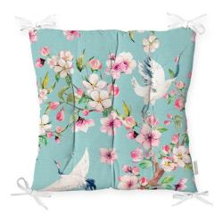 Podsedák na židli Minimalist Cushion Covers Flowers and Bird, 40 x 40 cm