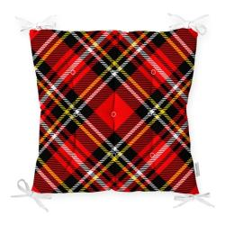 Podsedák na židli Minimalist Cushion Covers Flannel Red Black, 40 x 40 cm
