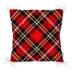 Podsedák na židli Minimalist Cushion Covers Flannel Red Black, 40 x 40 cm